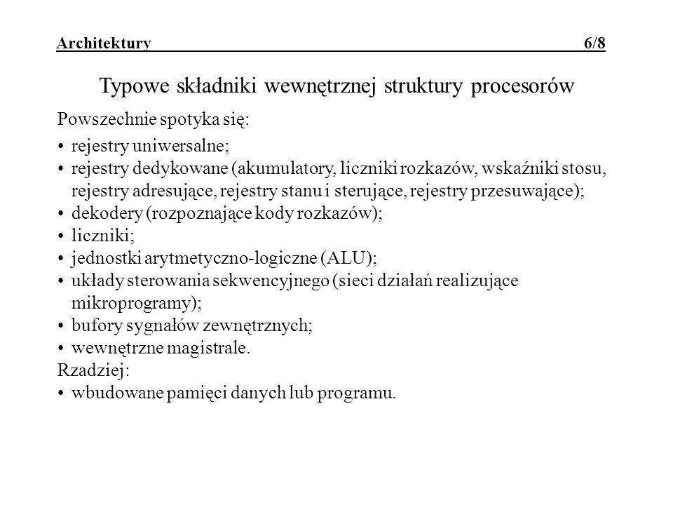 Typowe składniki wewnętrznej struktury procesorów