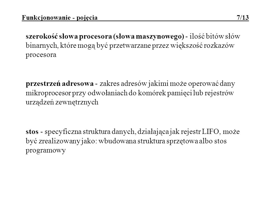 Funkcjonowanie - pojęcia 7/13