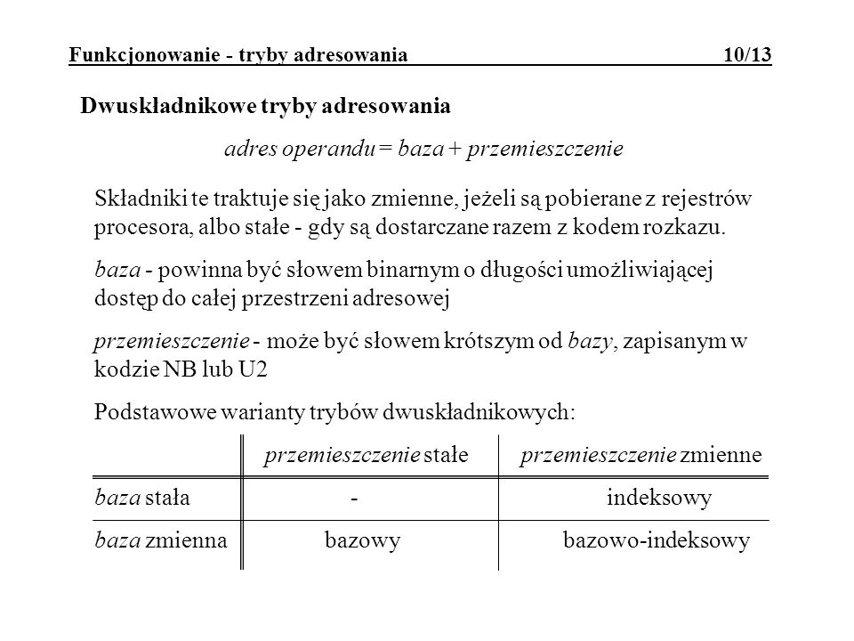 Funkcjonowanie - tryby adresowania 10/13