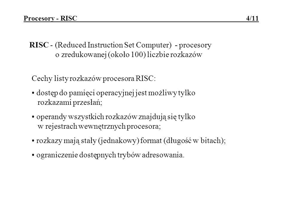 Cechy listy rozkazów procesora RISC: