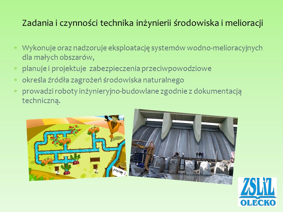 Zadania i czynności technika inżynierii środowiska i melioracji