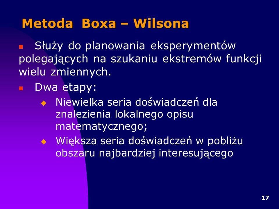 Metoda Boxa – Wilsona Służy do planowania eksperymentów polegających na szukaniu ekstremów funkcji wielu zmiennych.