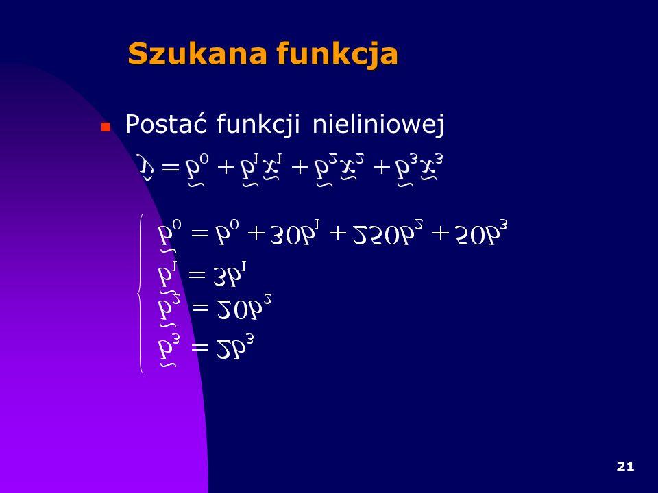 Szukana funkcja Postać funkcji nieliniowej