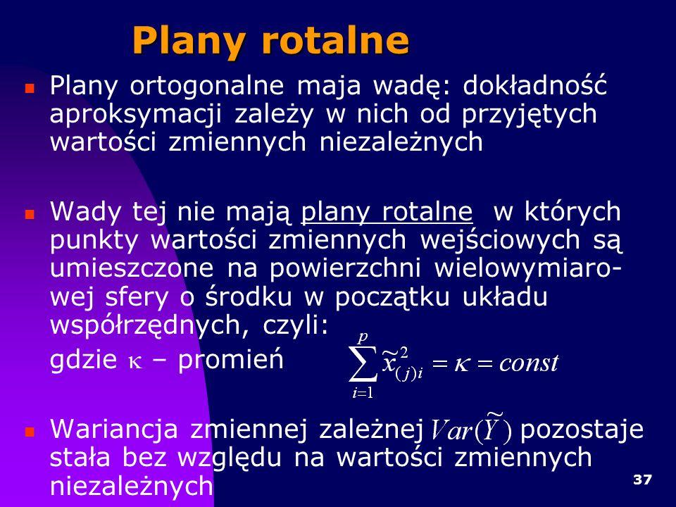 Plany rotalne Plany ortogonalne maja wadę: dokładność aproksymacji zależy w nich od przyjętych wartości zmiennych niezależnych.