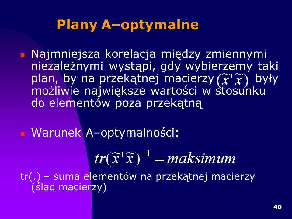 Plany A–optymalne