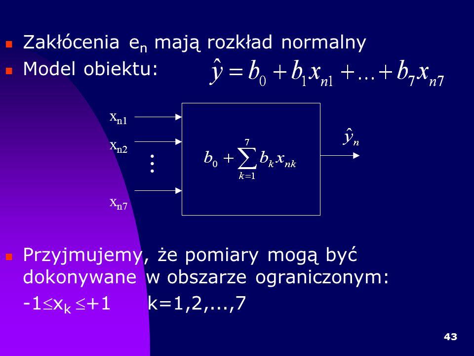 ... Zakłócenia en mają rozkład normalny Model obiektu: