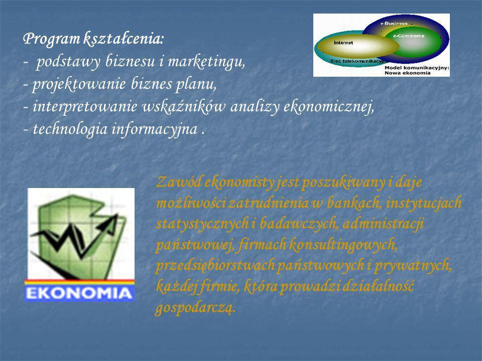 - podstawy biznesu i marketingu, - projektowanie biznes planu,