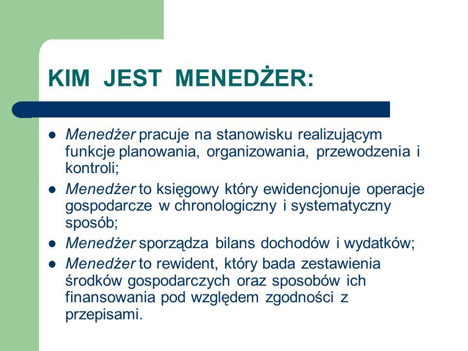 KIM JEST MENEDŻER: Menedżer pracuje na stanowisku realizującym funkcje planowania, organizowania, przewodzenia i kontroli;