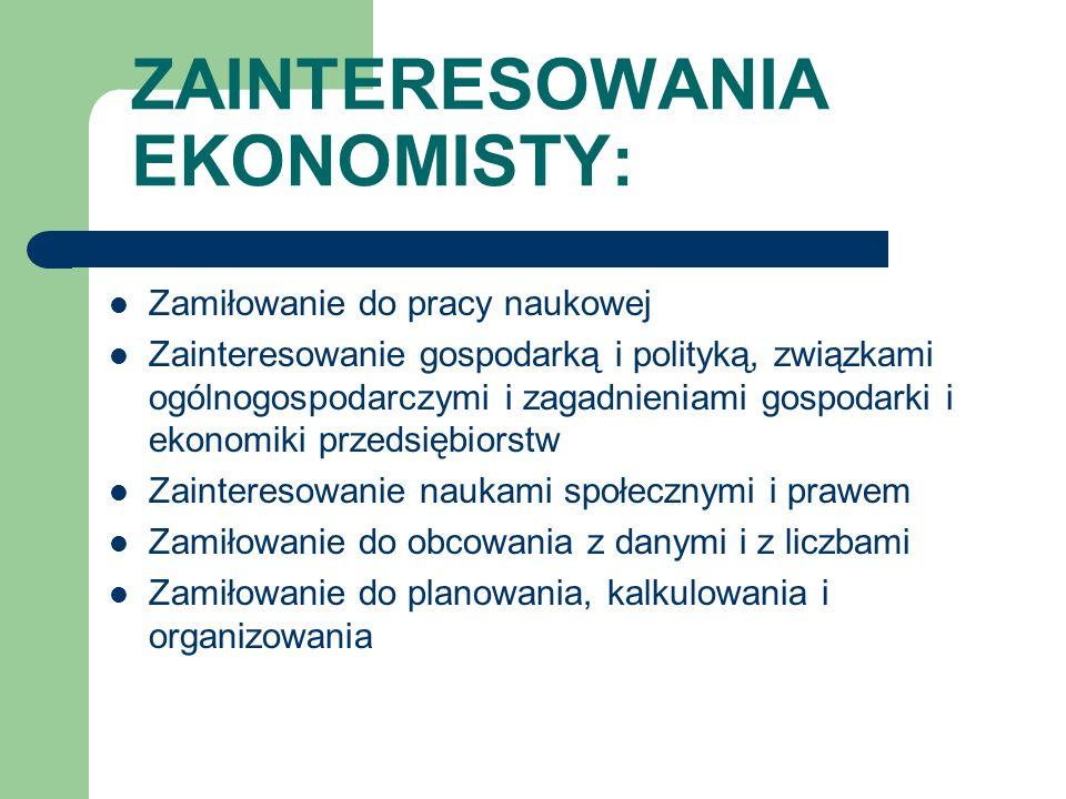 ZAINTERESOWANIA EKONOMISTY: