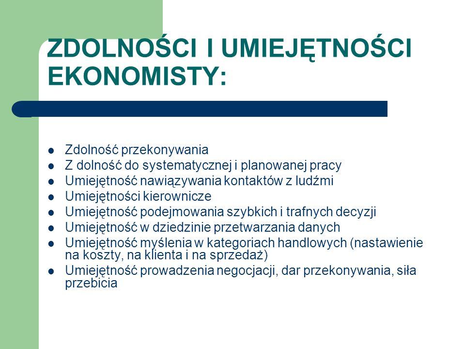 ZDOLNOŚCI I UMIEJĘTNOŚCI EKONOMISTY: