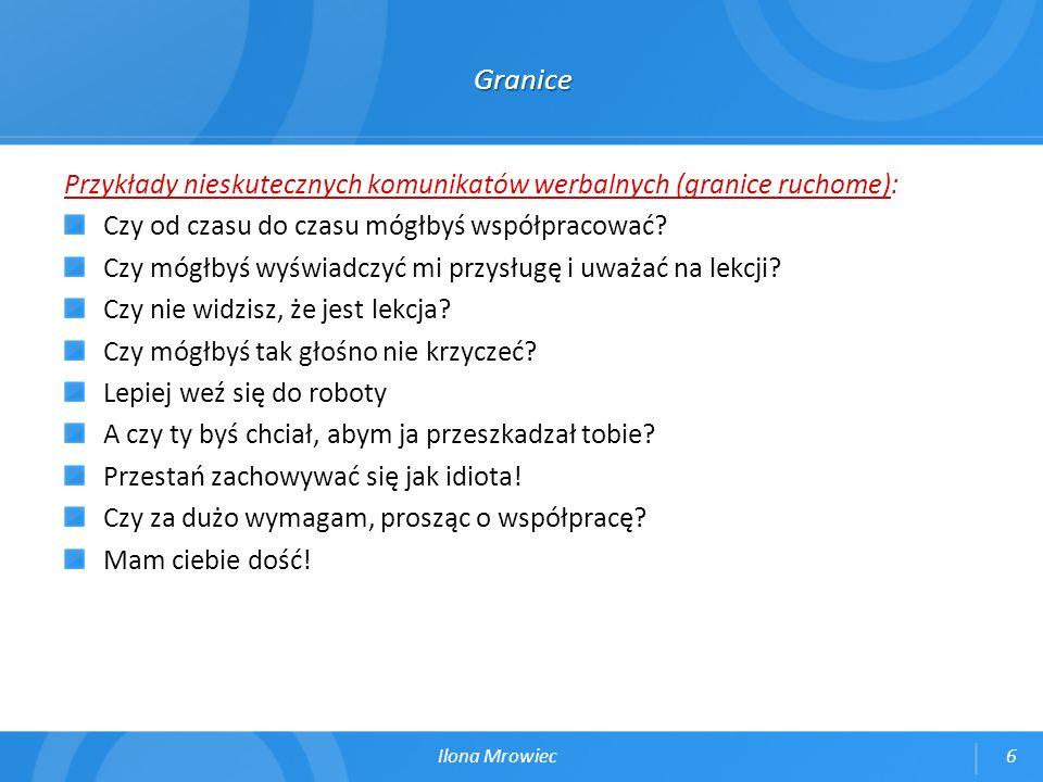 Granice Przykłady nieskutecznych komunikatów werbalnych (granice ruchome): Czy od czasu do czasu mógłbyś współpracować