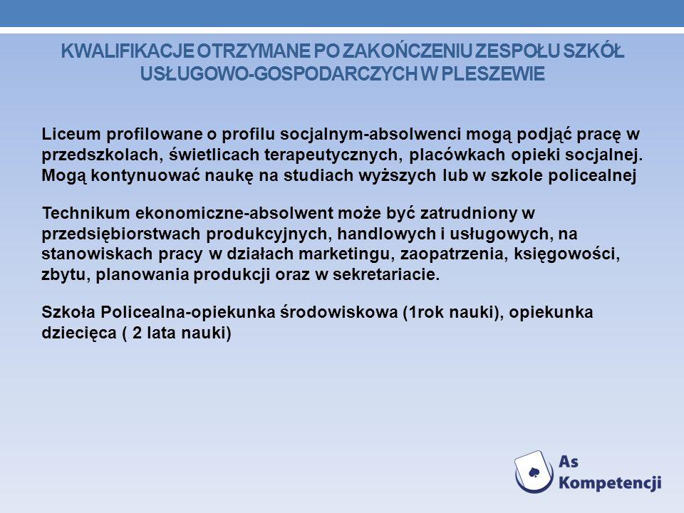 Kwalifikacje otrzymane po zakończeniu Zespołu Szkół Usługowo-Gospodarczych w Pleszewie