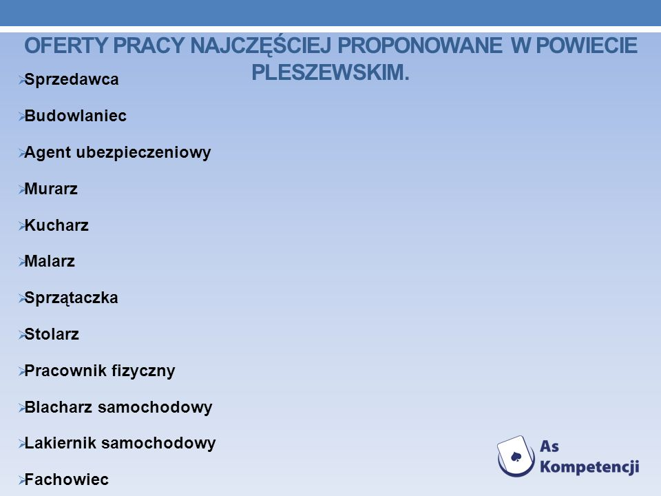 Oferty pracy najczęściej proponowane w Powiecie Pleszewskim.
