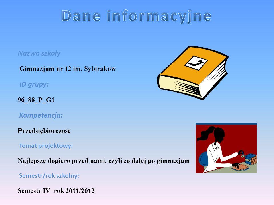 Dane informacyjne Nazwa szkoły ID grupy: Gimnazjum nr 12 im. Sybiraków