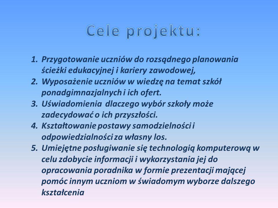 Cele projektu: Przygotowanie uczniów do rozsądnego planowania ścieżki edukacyjnej i kariery zawodowej,