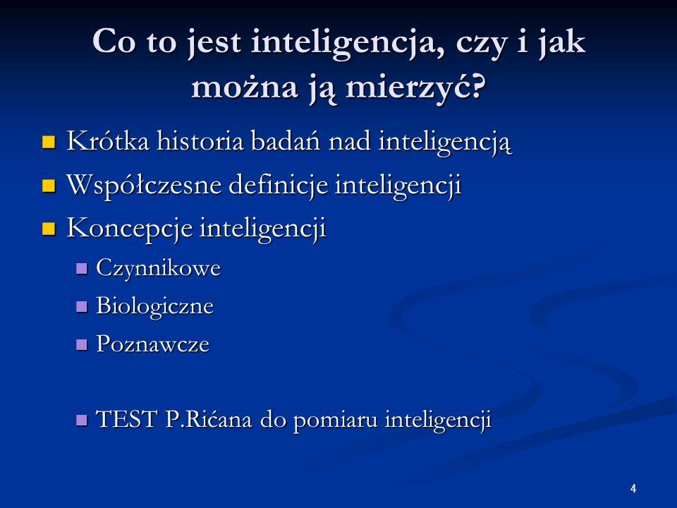 Co to jest inteligencja, czy i jak można ją mierzyć