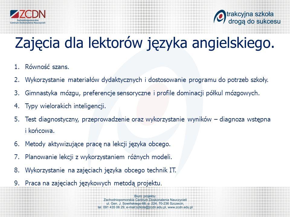 Zajęcia dla lektorów języka angielskiego.
