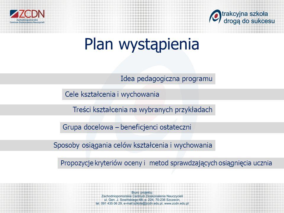 Plan wystąpienia Idea pedagogiczna programu