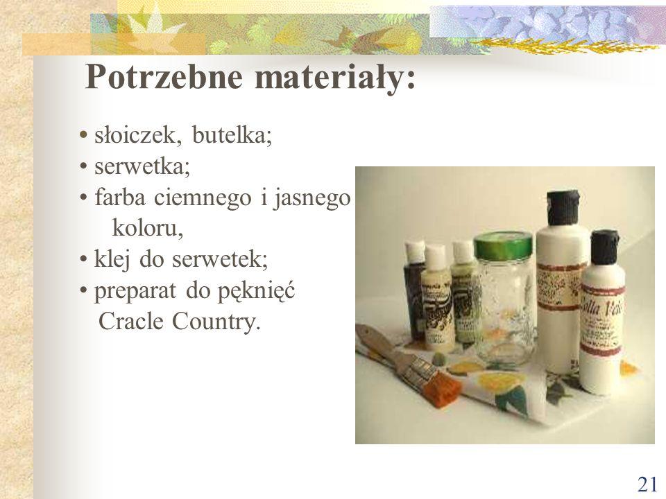 Potrzebne materiały: • słoiczek, butelka; • serwetka;