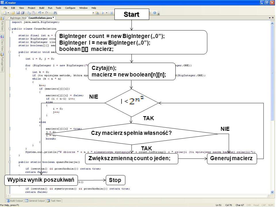"""Start l < BigInteger count = new BigInteger (""""0 );"""