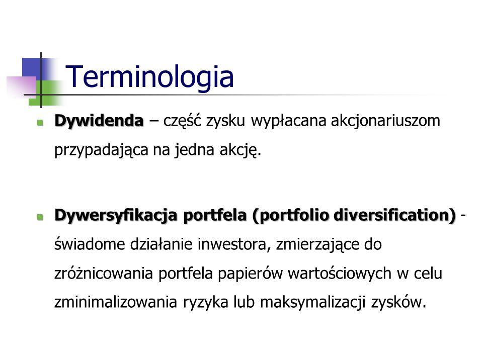Terminologia Dywidenda – część zysku wypłacana akcjonariuszom przypadająca na jedna akcję.