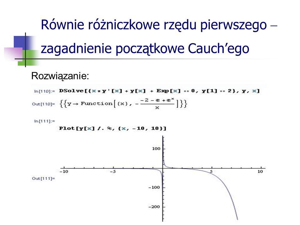 Równie różniczkowe rzędu pierwszego  zagadnienie początkowe Cauch'ego