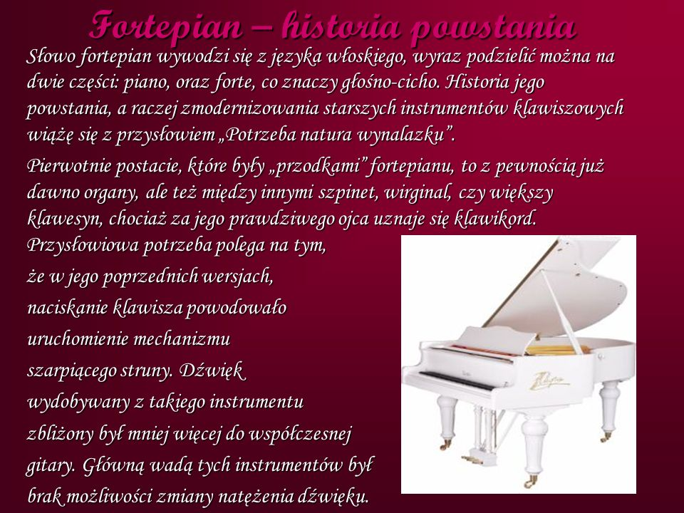 Fortepian – historia powstania