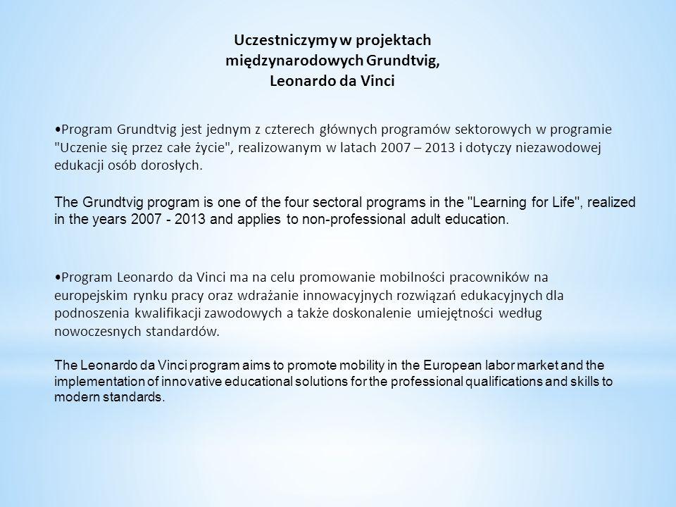 Uczestniczymy w projektach międzynarodowych Grundtvig,