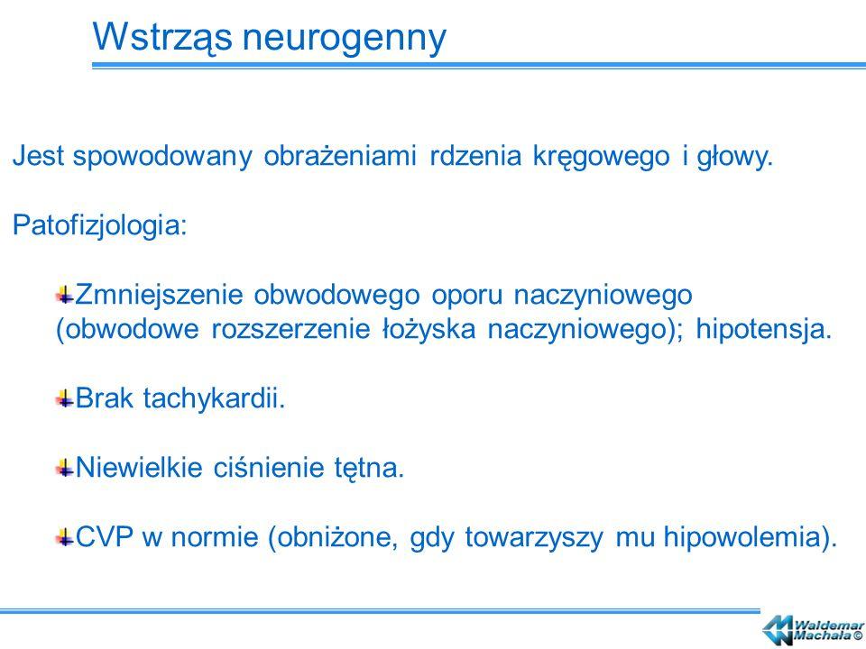 Wstrząs neurogenny Jest spowodowany obrażeniami rdzenia kręgowego i głowy. Patofizjologia: