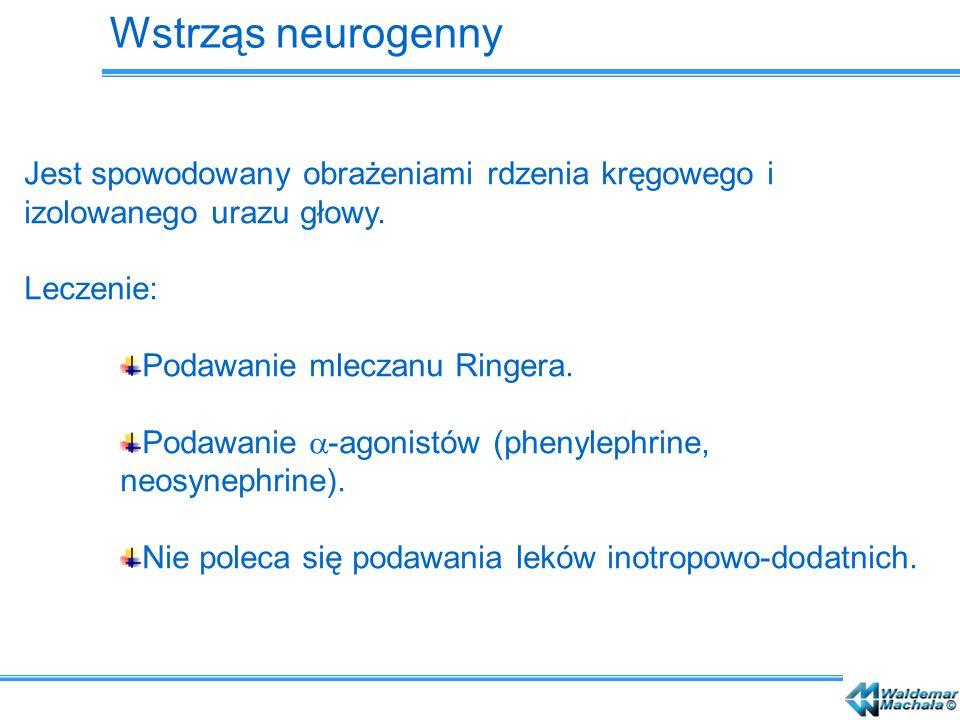 Wstrząs neurogenny Jest spowodowany obrażeniami rdzenia kręgowego i izolowanego urazu głowy. Leczenie: