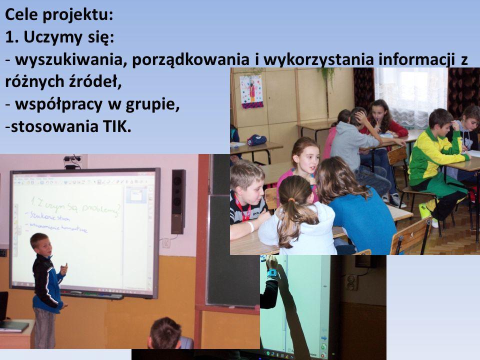 Cele projektu: 1. Uczymy się: wyszukiwania, porządkowania i wykorzystania informacji z różnych źródeł,