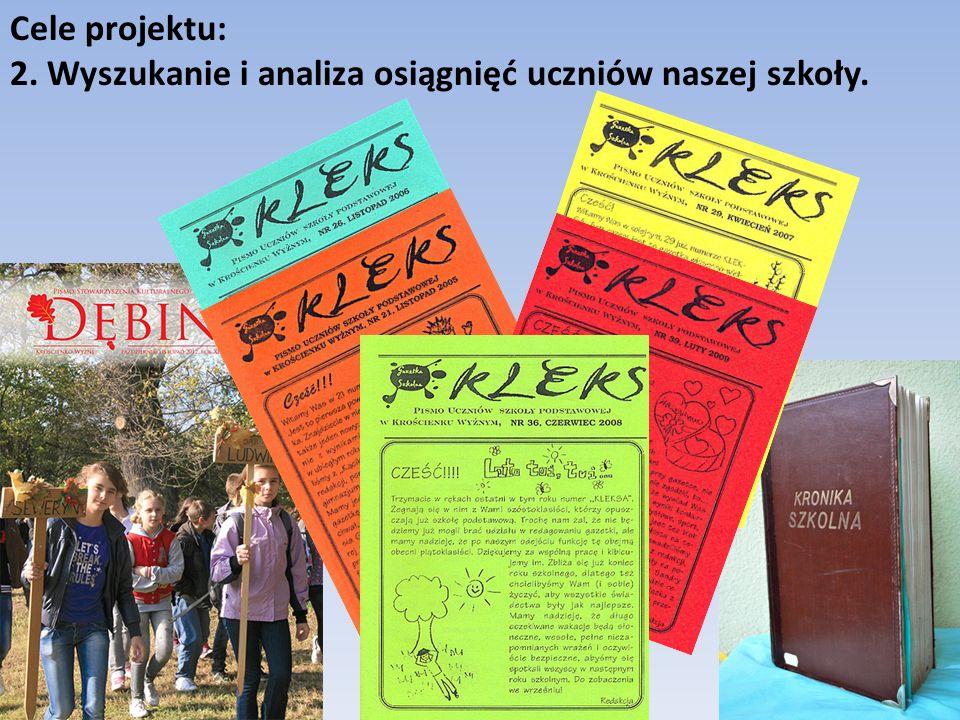 Cele projektu: 2. Wyszukanie i analiza osiągnięć uczniów naszej szkoły.