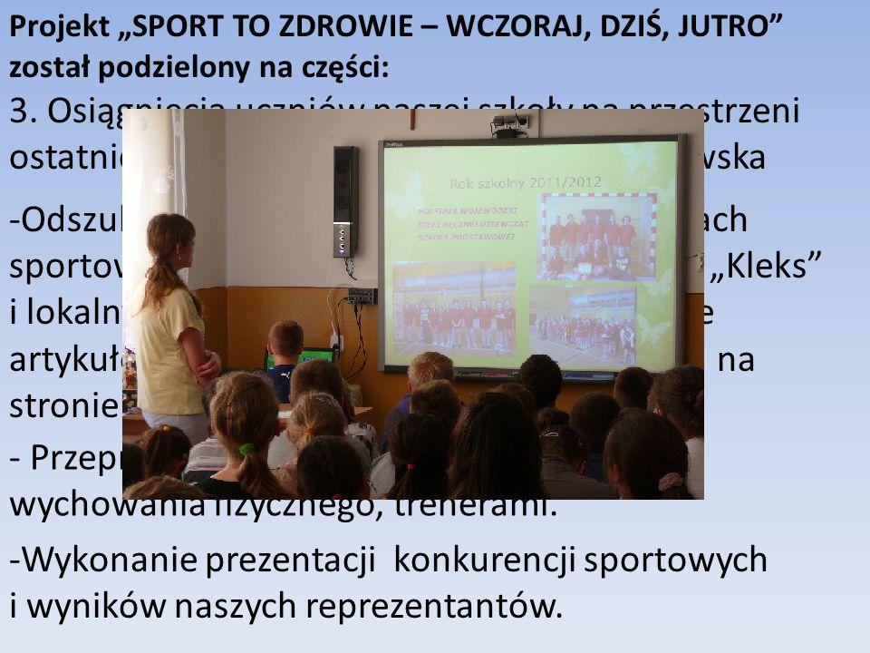 Wykonanie prezentacji konkurencji sportowych