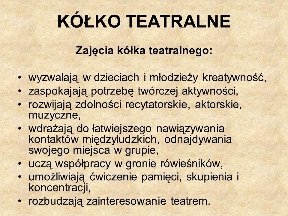 Zajęcia kółka teatralnego: