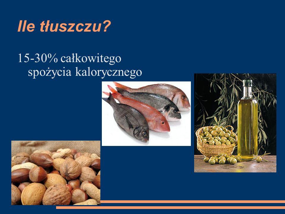 Ile tłuszczu 15-30% całkowitego spożycia kalorycznego
