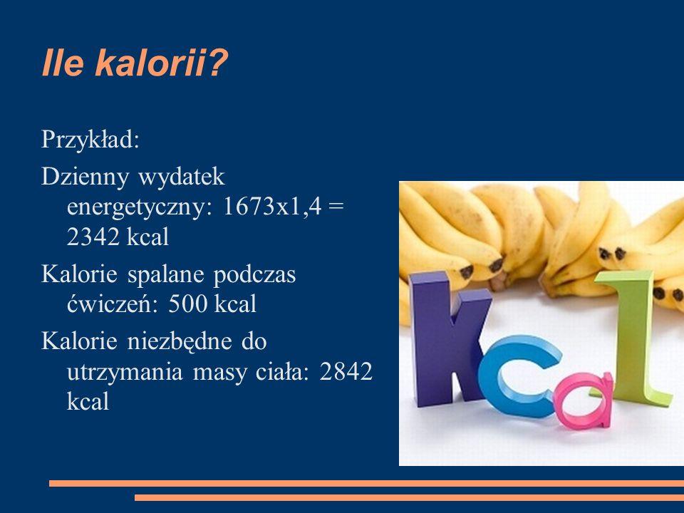 Ile kalorii Przykład: Dzienny wydatek energetyczny: 1673x1,4 = 2342 kcal. Kalorie spalane podczas ćwiczeń: 500 kcal.