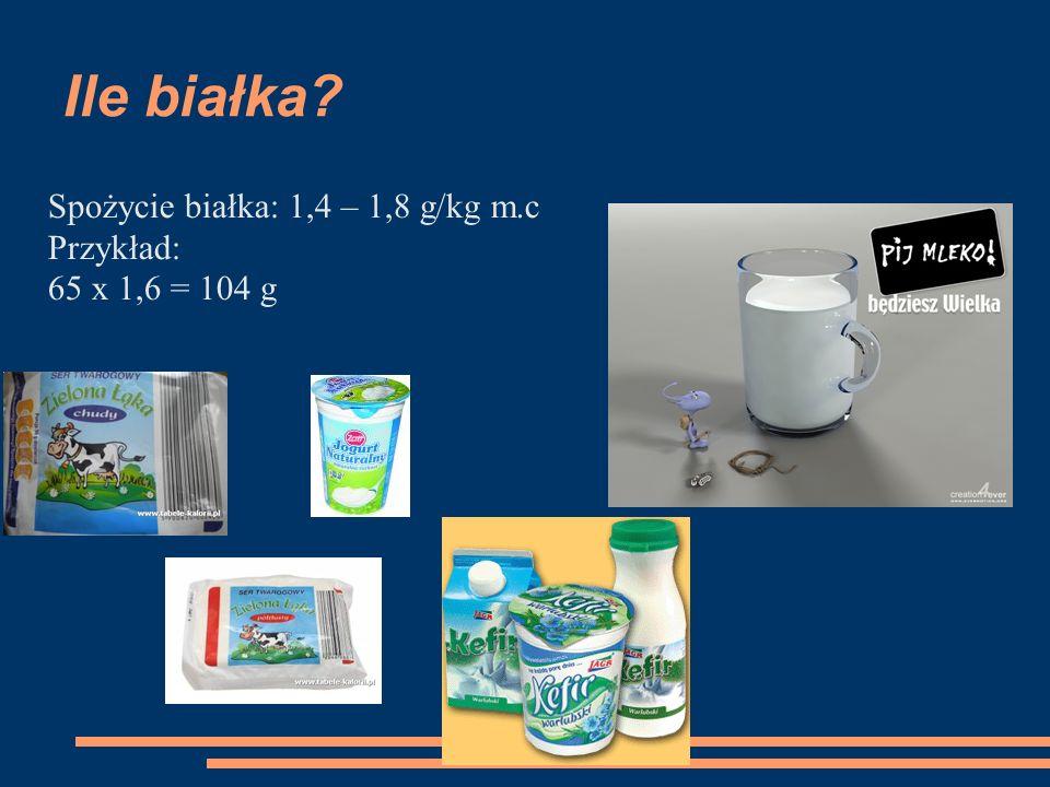 Ile białka Spożycie białka: 1,4 – 1,8 g/kg m.c Przykład: