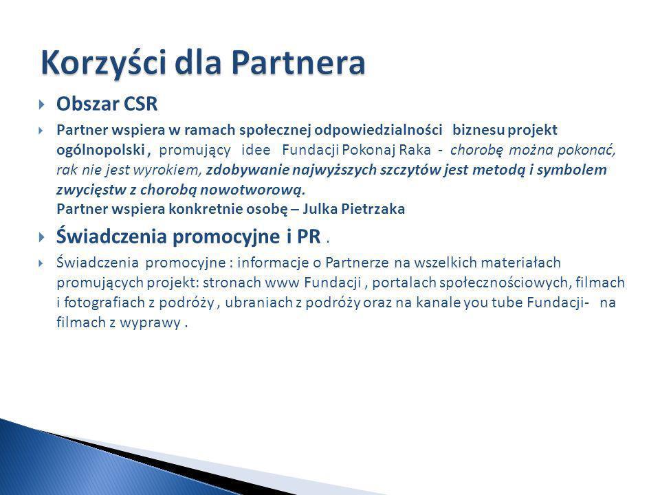 Korzyści dla Partnera Obszar CSR Świadczenia promocyjne i PR .