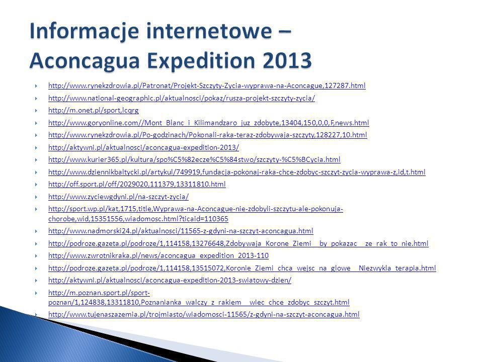 Informacje internetowe – Aconcagua Expedition 2013