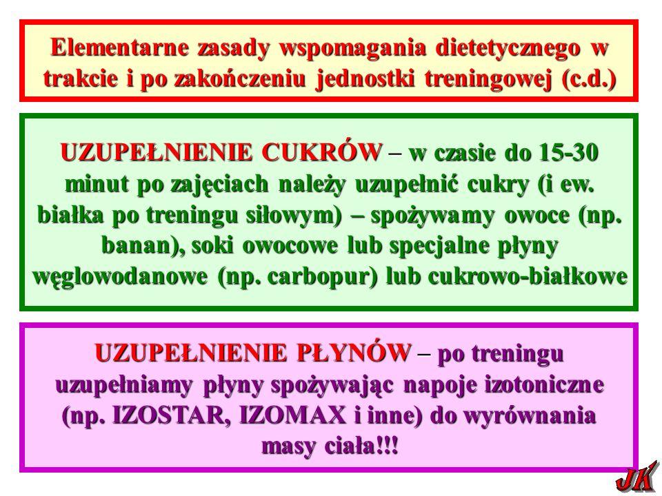 Elementarne zasady wspomagania dietetycznego w trakcie i po zakończeniu jednostki treningowej (c.d.)