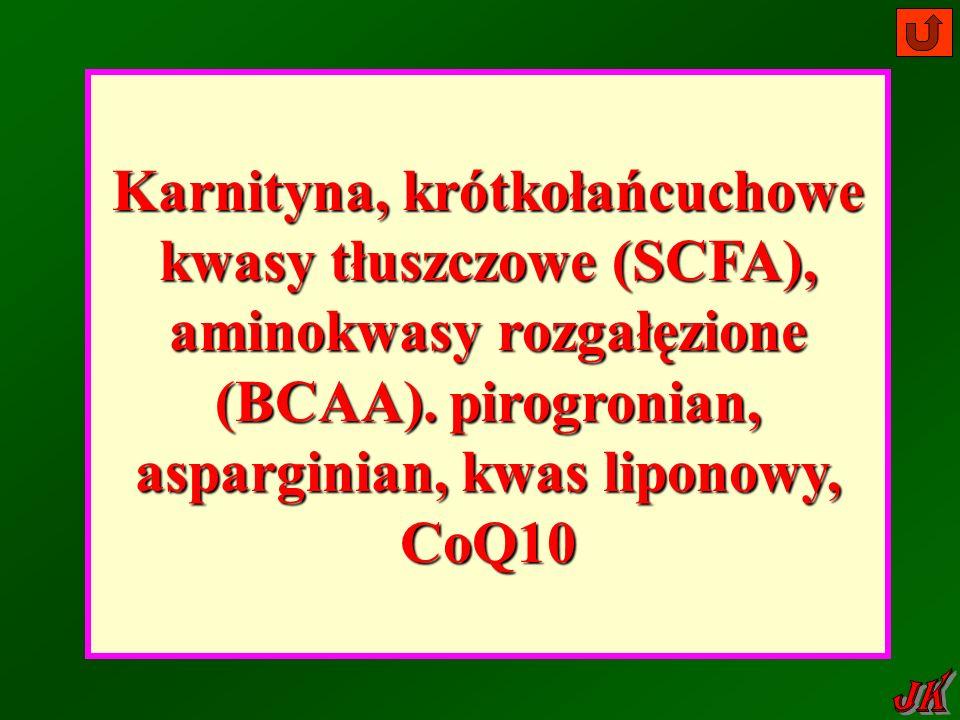 Karnityna, krótkołańcuchowe kwasy tłuszczowe (SCFA), aminokwasy rozgałęzione (BCAA).