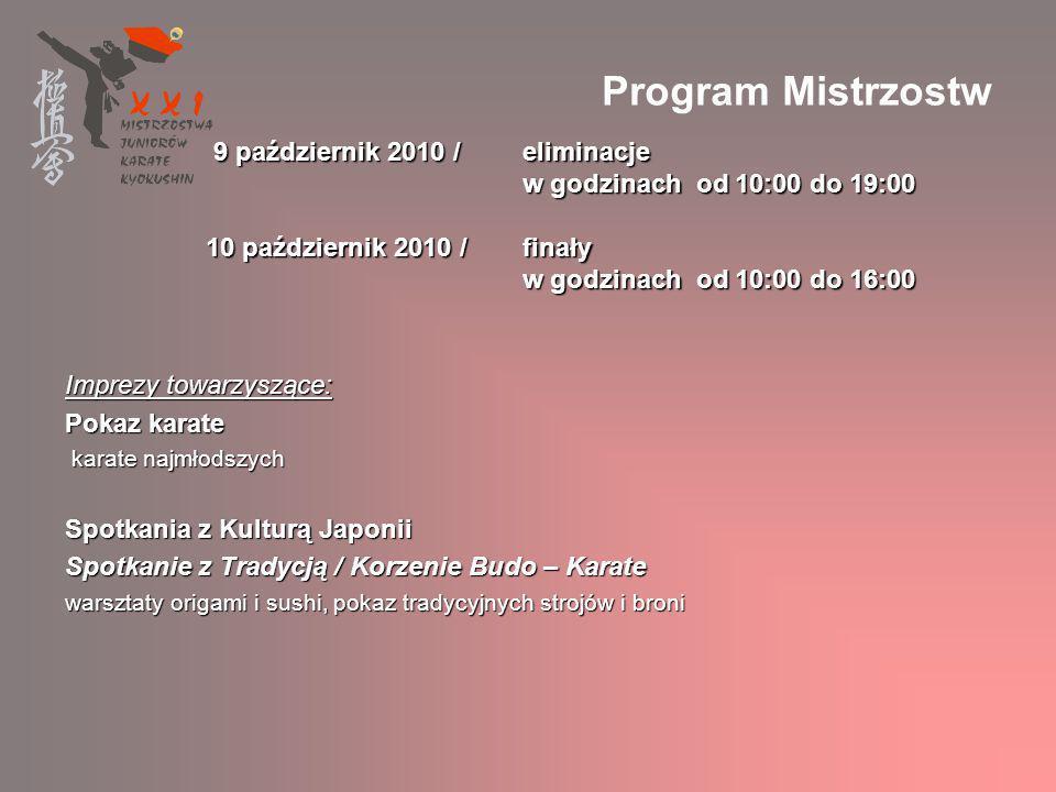 Program Mistrzostw 9 październik 2010 / eliminacje