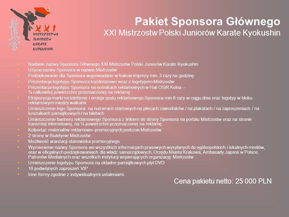 Pakiet Sponsora Głównego XXI Mistrzostw Polski Juniorów Karate Kyokushin