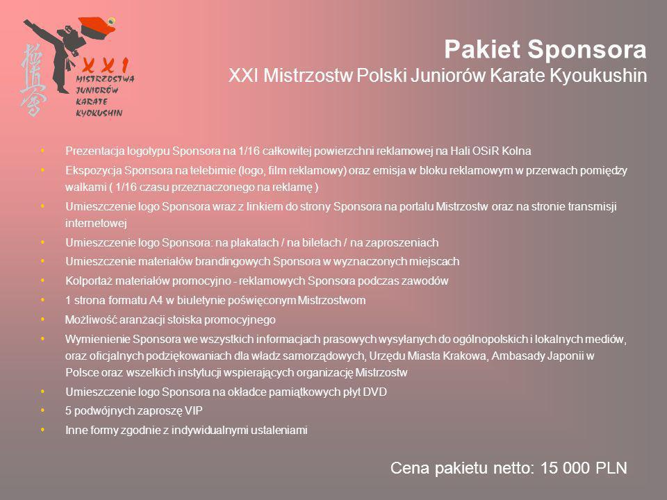 Pakiet Sponsora XXI Mistrzostw Polski Juniorów Karate Kyoukushin