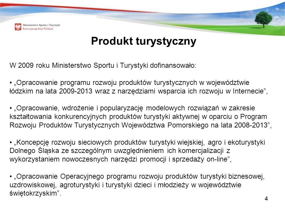 Produkt turystyczny W 2009 roku Ministerstwo Sportu i Turystyki dofinansowało: