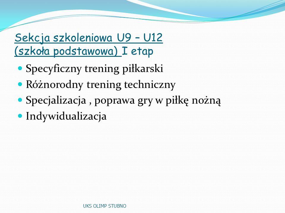 Sekcja szkoleniowa U9 – U12 (szkoła podstawowa) I etap