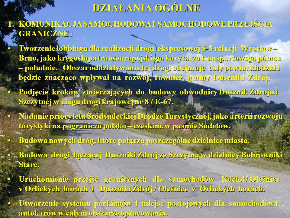 DZIAŁANIA OGÓLNE 1. KOMUNIKACJA SAMOCHODOWA I SAMOCHODOWE PRZEJŚCIA GRANICZNE :