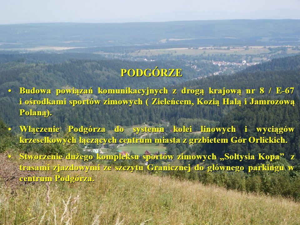 PODGÓRZE • Budowa powiązań komunikacyjnych z drogą krajową nr 8 / E-67 i ośrodkami sportów zimowych ( Zieleńcem, Kozią Halą i Jamrozową Polaną).
