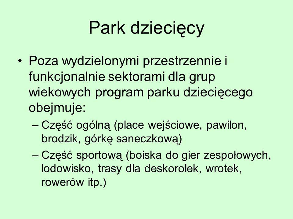 Park dziecięcy Poza wydzielonymi przestrzennie i funkcjonalnie sektorami dla grup wiekowych program parku dziecięcego obejmuje:
