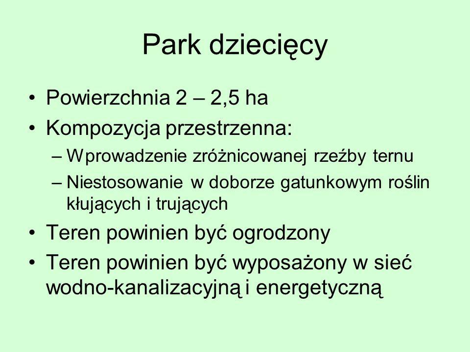 Park dziecięcy Powierzchnia 2 – 2,5 ha Kompozycja przestrzenna: